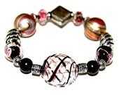 Venetian hand blown glass, Black and Pink rose lampwork bracelet / Silvered bali, Pastel acrylic and black wooden beaded bracelet