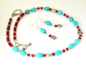 Ethnic / Bohemian Style Chalk Turquoise and Red Coral Necklace and Earrings Set