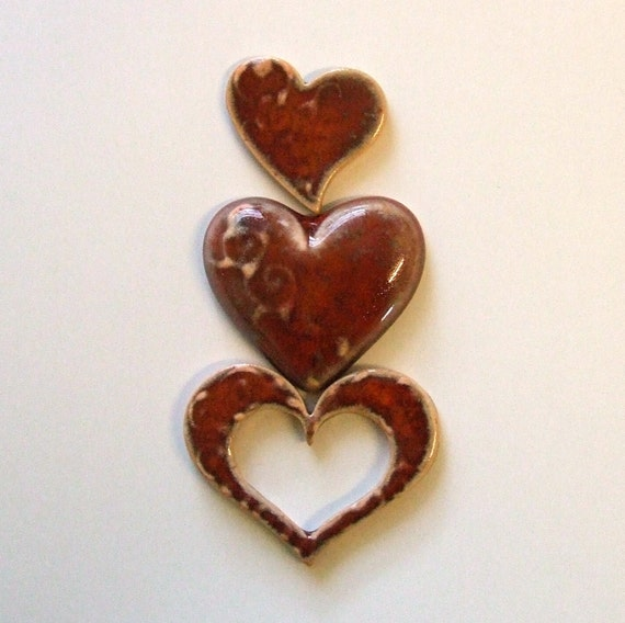 9 'ANTIQUE' RED HEARTS - Tiles for Mosaic Valentines