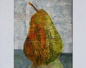 Modern Art Abstract Painting of a Pear