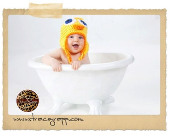 Yellow Duck Crocheted Hat/Beanie, photo prop, fun hat