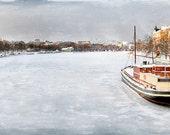 """Frozen river in Helsinki 8""""X16"""" photograph."""