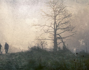 "Walking the dog in the early morning mist 8""X16"" photograph."