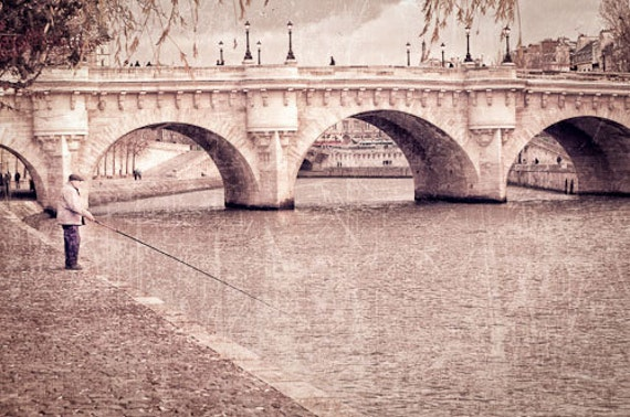 "Fisherman on the Seine in Paris France 8""X12"" photograph."
