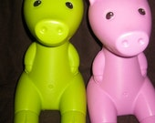 Two Vintage GREEN BLack Blue Pink or Red piggy banks designed by Monika Moulder for IKEA 1980s (2)