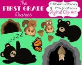 Hibernation & Migration Digital Clip Art Bears Bats Squirrels Monarch Butterfly Cave --Buy 2, Get 1 Free