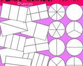Fractions Digital Line Art Stamps Equal Shares --BUY 2, GET 1 FREE
