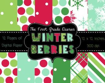 Winter Berries Digital Scrapbook Paper --BUY 2, GET 1 FREE