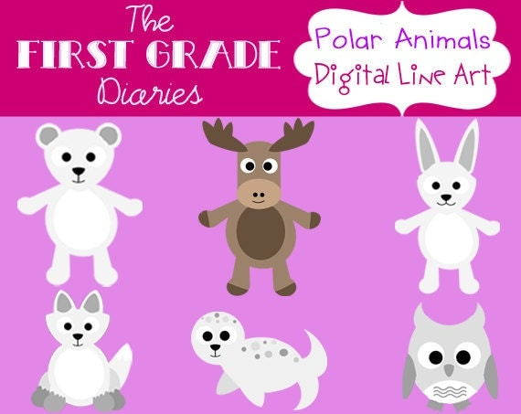Polar Arctic Animals Digital Clip Art Set --BUY 2, GET 1 FREE