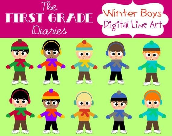 Winter Kids Boy Digital Clip Art Set Ice Skates --BUY 2, GET 1 FREE