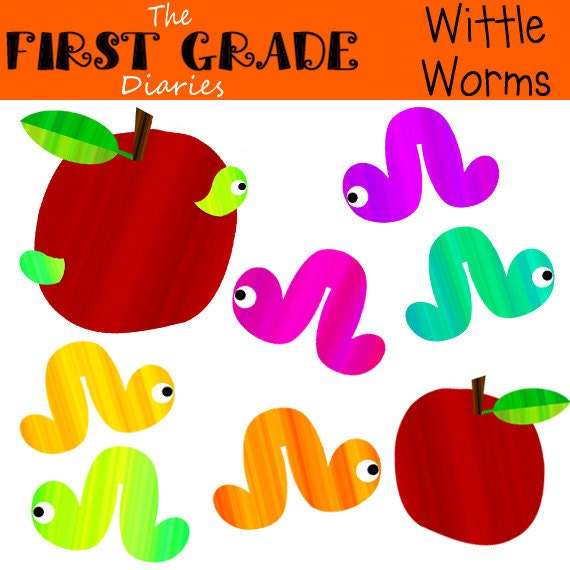 Wittle Worms Digital Clip Art BUY 2 GET 1 FREE