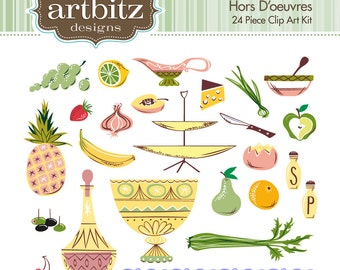 Hors D'oeuvres No. 07001 24 Piece Clip Art Kit, 300 dpi .jpg and .png