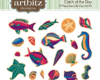 Catch of the Day No. 08001 19 Piece Sea Life Clip Art Kit, 300 dpi .jpg and .png