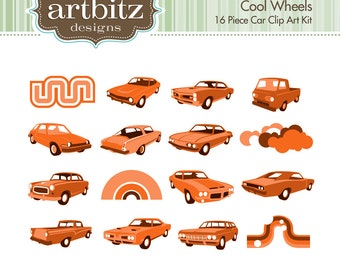 Cool Wheels No. 10002 16 Piece Clip Art Kit, 300 dpi .jpg and .png