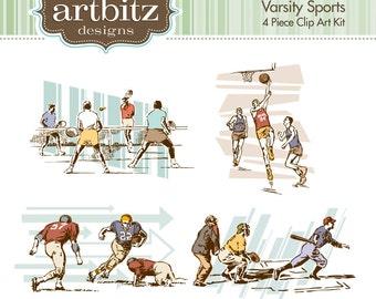 Varsity Sports Vol. 2, No. 11002 4 Piece Clip Art Kit, 300 dpi .jpg and .png