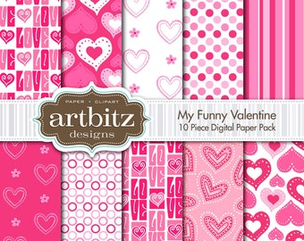 "My Funny Valentine 10 Piece Digital Scrapbooking Paper Pack, 12""x12"", 300 dpi .jpg, Instant Download!"