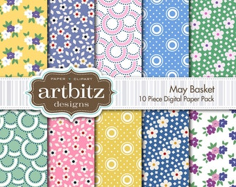 "May Basket 10 Piece Digital Scrapbook Paper Pack, 12""x12"", 300 dpi .jpg, Instant Download!"
