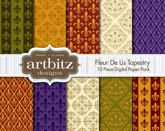 "Fleur De Lis Tapestry 10 Piece Digital Scrapbooking Paper Pack, 12""x12"", 300 dpi .jpg, Instant Download!"