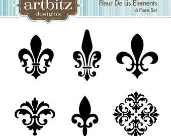 Fleur De Lis Elements, No. 17001 Clip Art Kit, 300 dpi .jpg and .png, Instant Download!