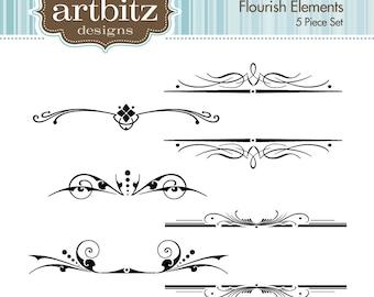 Flourish Elements, No. 17002 Clip Art Kit, 300 dpi .jpg and .png, Instant Download!