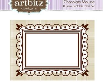 Chocolate Mousse Labels, No. 19002 8 Piece Printable Label/Card Kit, 300 dpi .jpg