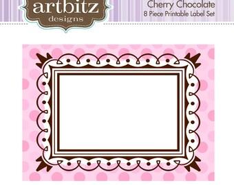 Cherry Chocolate Labels, No. 19001 8 Piece Printable Label/Card Kit, 300 dpi .jpg