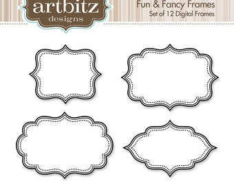 Fun & Fancy Digital Frames, Set of 12, No. 20001 Clip Art Kit, 300 dpi .jpg and .png