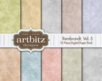 "Rembrandt, Vol. 5, 10 Piece Digital Scrapbook Paper Pack, 12""x12"", 300 dpi .jpg, Instant Download!"