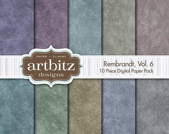 "Rembrandt, Vol. 6, 10 Piece Digital Scrapbooking Paper Pack, 12""x12"", 300 dpi .jpg, Instant Download!"