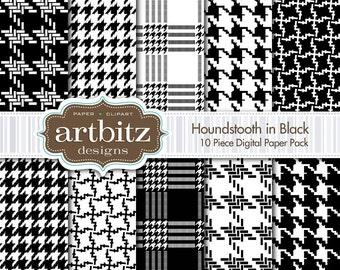 "Houndstooth in Black 10 Piece Digital Scrapbook Paper Pack, 12""x12"", 300 dpi .jpg, Instant Download!"