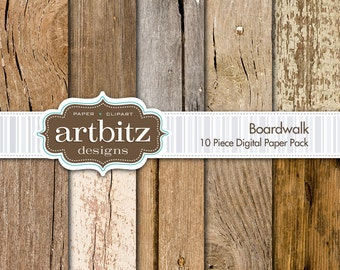"Boardwalk, Vol. 1 10 Piece Wood Texture Digital Scrapbooking Paper Pack, 12""x12"", 300 dpi .jpg, Instant Download!"