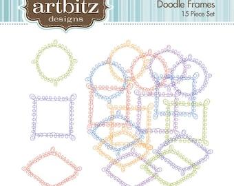 Doodle Digital Frames, Set of 15, No. 20003 Clip Art Kit, 300 dpi .jpg and .png