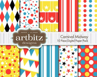 "Carnival Midway 10 Piece Circus Themed Digital Scrapbooking Paper Pack, 12""x12"", 300 dpi .jpg, Instant Download!"