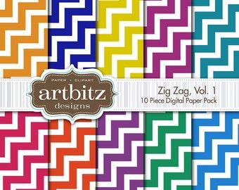 """Zig Zag 10 Piece Chevron Digital Scrapbook Paper Pack, 12""""x12"""", 300 dpi .jpg, Instant Download!"""