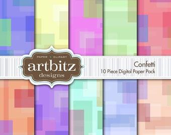 "Confetti, 10 Piece Digital Scrapbook Paper Pack, 12""x12"", 300 dpi .jpg, Instant Download!"