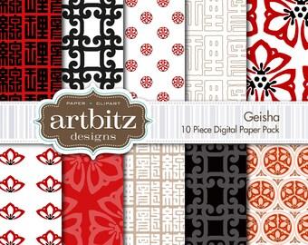 "Geisha 10 Piece Oriental Themed Digital Scrapbooking Paper Pack, 12""x12"", 300 dpi .jpg, Instant Download!"