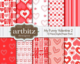 "My Funny Valentine Vol. 2, 10 Piece Digital Scrapbooking Paper Pack, 12""x12"", 300 dpi .jpg, Instant Download!"