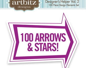 Designer's Helper Vol. 2 100 Piece Arrows & Stars Kit, Commercial License, No. 17006, .eps, 300 dpi .jpg