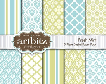 "Fresh Mint Damask 10 Piece Digital Scrapbooking Paper Pack, 12""x12"", 300 dpi .jpg, Instant Download!"