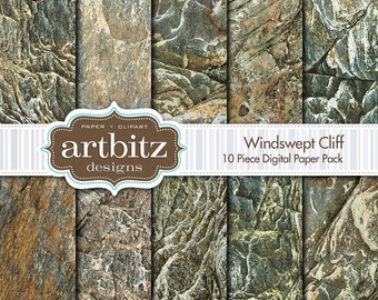 "Windswept Cliff, 10 Piece Rock Texture Digital Scrapbooking Paper Pack, 12""x12"", 300 dpi .jpg, Instant Download!"