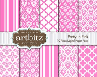 "Pretty in Pink Damask 10 Piece Digital Scrapbooking Paper Pack, 12""x12"", 300 dpi .jpg, Instant Download!"