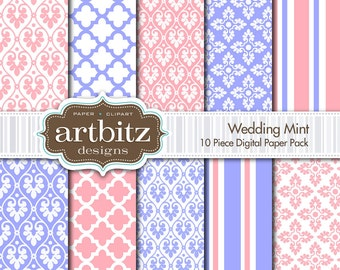 "Wedding Mint Damask 10 Piece Digital Scrapbooking Paper Pack, 12""x12"", 300 dpi .jpg, Instant Download!"