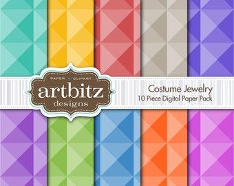 "Costume Jewelry 10 Piece Faceted Digital Scrapbook Paper Pack, 12""x12"", 300 dpi .jpg, Instant Download!"