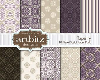 "Tapestry 10 Piece Damask Digital Scrapbooking Paper Pack, 12""x12"", 300 dpi .jpg, Instant Download!"