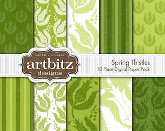 "Spring Thistles 10 Piece Primitive Textured Digital Scrapbooking Paper Pack, 12""x12"", 300 dpi .jpg, Instant Download!"