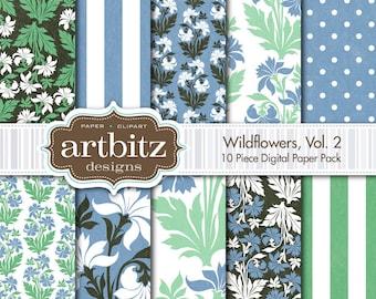 "Wildflowers, Vol. 2 10 Piece Textured Digital Scrapbooking Paper Pack, 12""x12"", 300 dpi .jpg, Instant Download!"