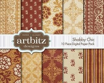 "Shabby Chic, Vol. 1, 10 Piece Distressed Digital Scrapbooking Paper Pack, 12""x12"", 300 dpi .jpg, Instant Download!"