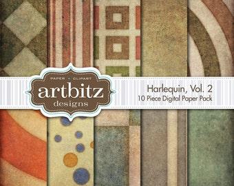 "Harlequin Vol. 2, 10 Piece Distressed Digital Scrapbooking Paper Pack, 12""x12"", 300 dpi .jpg, Instant Download!"