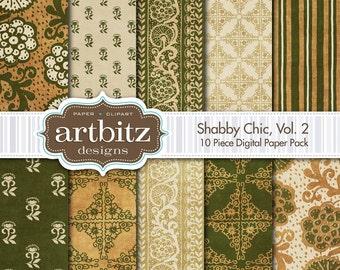"Shabby Chic, Vol. 2, 10 Piece Distressed Digital Scrapbooking Paper Pack, 12""x12"", 300 dpi .jpg, Instant Download!"
