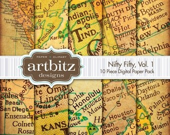 "Nifty Fifty, Vol. 1, 10 Piece Map Element Digital Scrapbooking Paper Pack, 12""x12"", 300 dpi .jpg, Instant Download!"